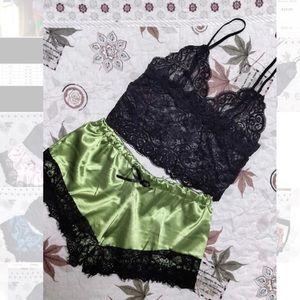 (Last 2)Bralette+shorts sleep set loungewear green